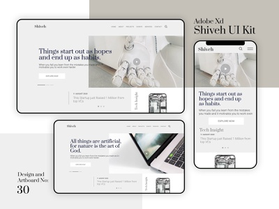 Clean and Modern UI Kit - Shiveh tech ux interface website concept responsive mobile minimal clean design collection design ui ui design clean