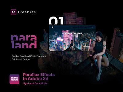 Paraland | Parallax Scrolling Effects in Adobe XD - Freebies freebies slider ui kit xd ui kit xd design business parallax prototype website interface ui design parallax effect