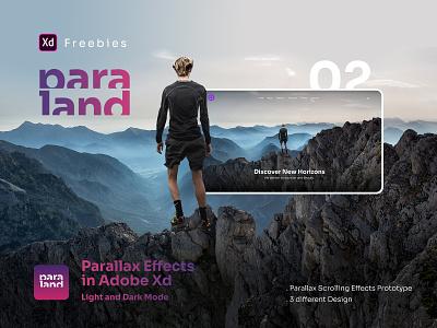 Paraland | Adobe XD Parallax Prototype - Second Pack - Freebies ux webdesign slider freebie freebies free business clean graphic design minimal uiux ui website interface parallax ui design