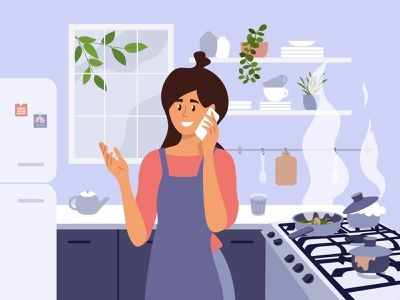 How are you doing mother routine busy woman dinner burned talking phone call meal stove distracted fire kitchen cooking girl character girl lifestyle design vector illustration