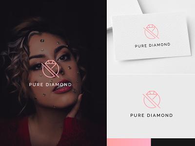 Beauty Brand Logo for Pure Diamond logomaker logodesign flat skincare diamond beautybrand illustrator logos inspirations mark graphicdesiner minimal design logotype logo icon graphic design designs creative branding