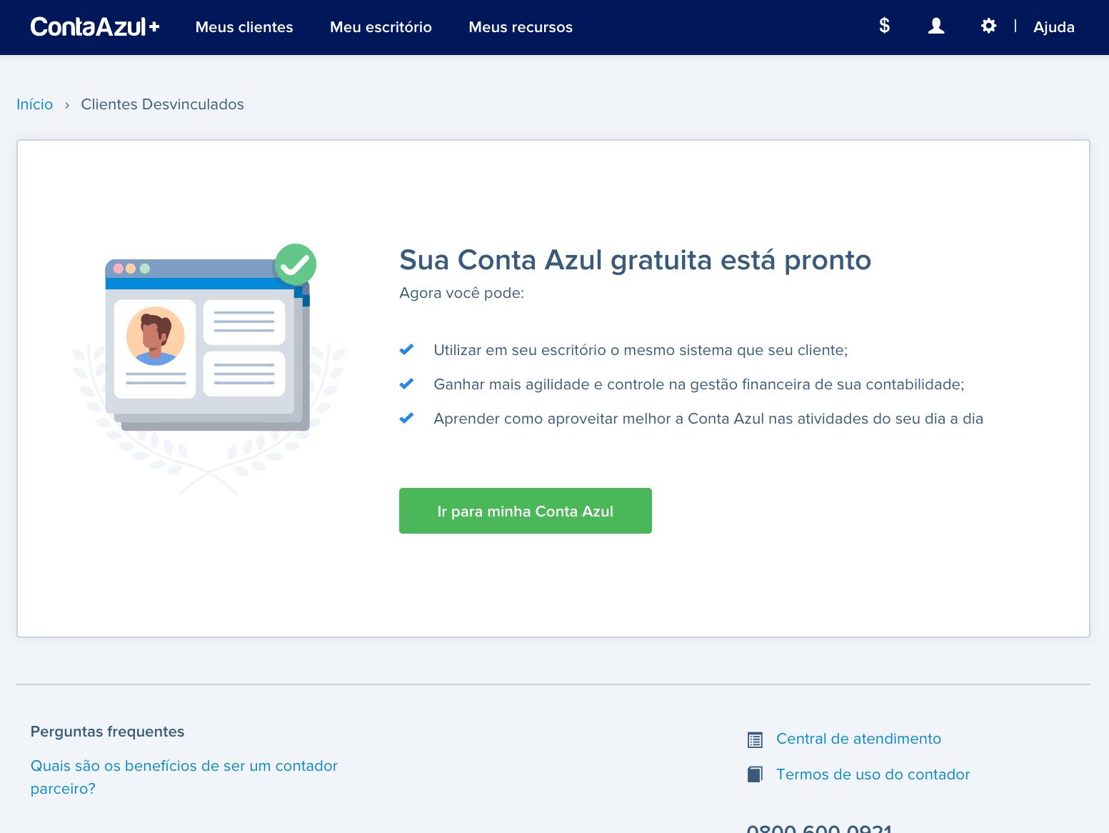 Success Screen - Free account for accountant partner ui desktop sucess conta azul web