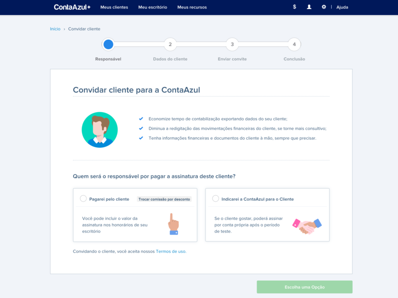 First step in the invitation flow - Conta Azul Mais wizzard conta azul ui desktop web