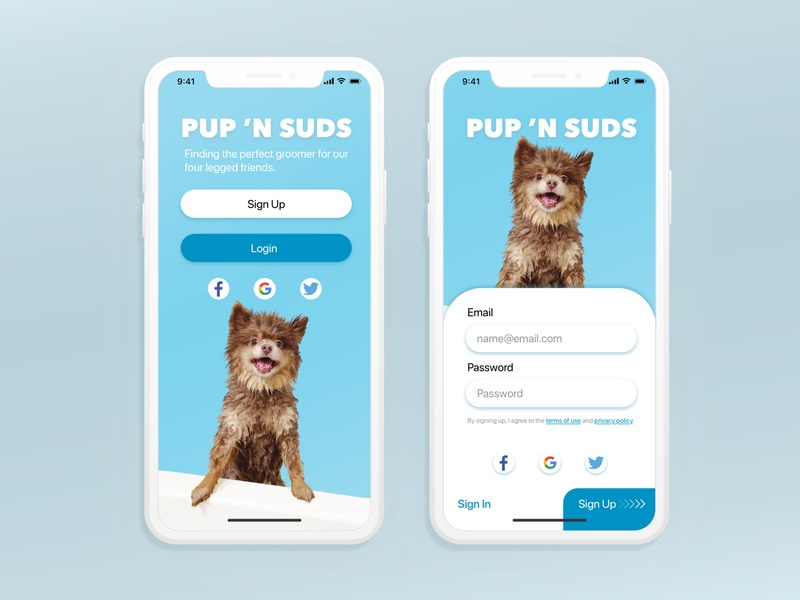 Dog Grooming App - Daily UI 001 - Sign Up xd ux design ui pet care product design app design uidesign daily 100 challenge dailyuichallenge dailyui