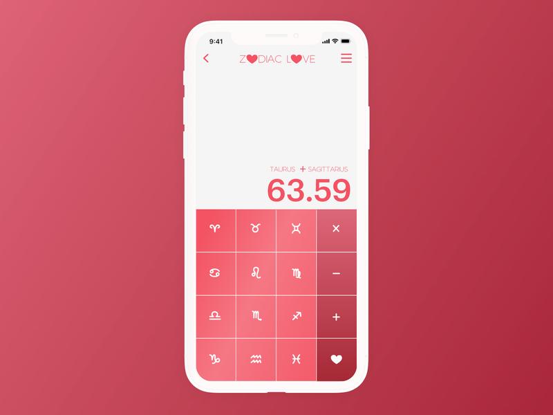 DAILY UI 004 - ZODIAC LOVE uxui app uidesign typography dailyuichallenge dailyui daily 100 challenge app design ux design product design