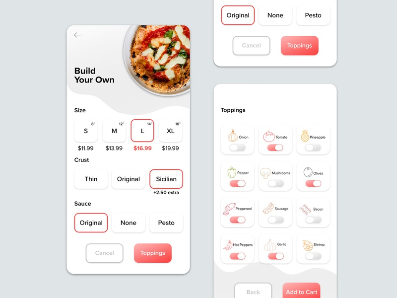 Pizza App - Daily UI - 015 On Off Switch uidesign typography product design ux design uxui app design dailyui dailyuichallenge daily 100 challenge pizza app pizza