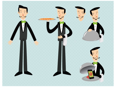 The Waiter of BuscaPrato App design character