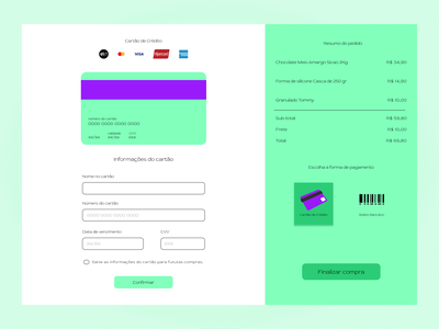 Credit Card Checkout brazil portuguese minimal web ui design dailyuichallenge figma credit card checkout first post first design dailyui 002