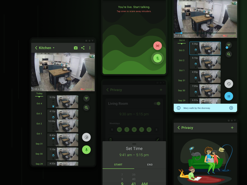 IP Camera Dark Mode - Timeline product design app design ux dark mode android app ui