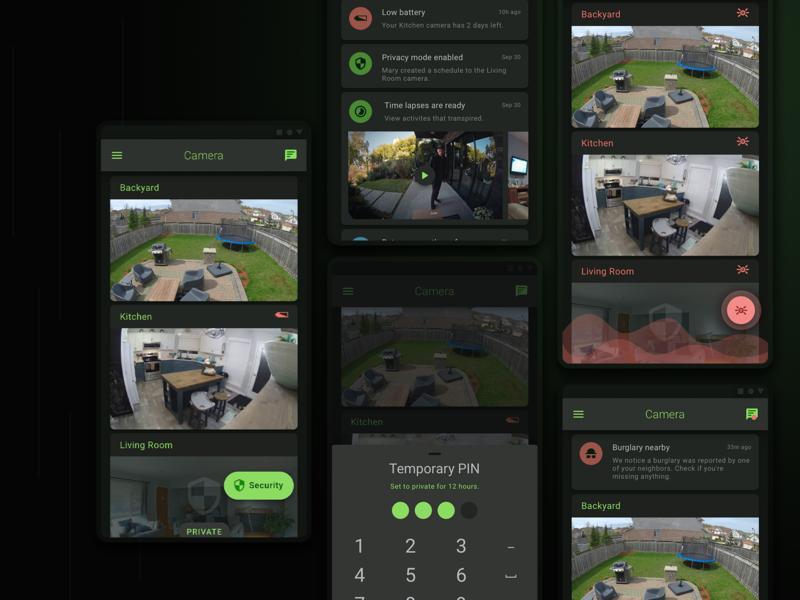 IP Camera Dark Mode - Landing dark mode android app appmobile ux product design design app ui