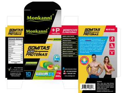 MONKANNI GOMITAS PROTEINAS diseño de logo diseño gráfico