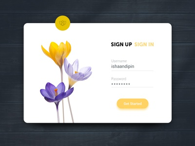 Sign Up UI daily ui flower clean flat login ui sign up