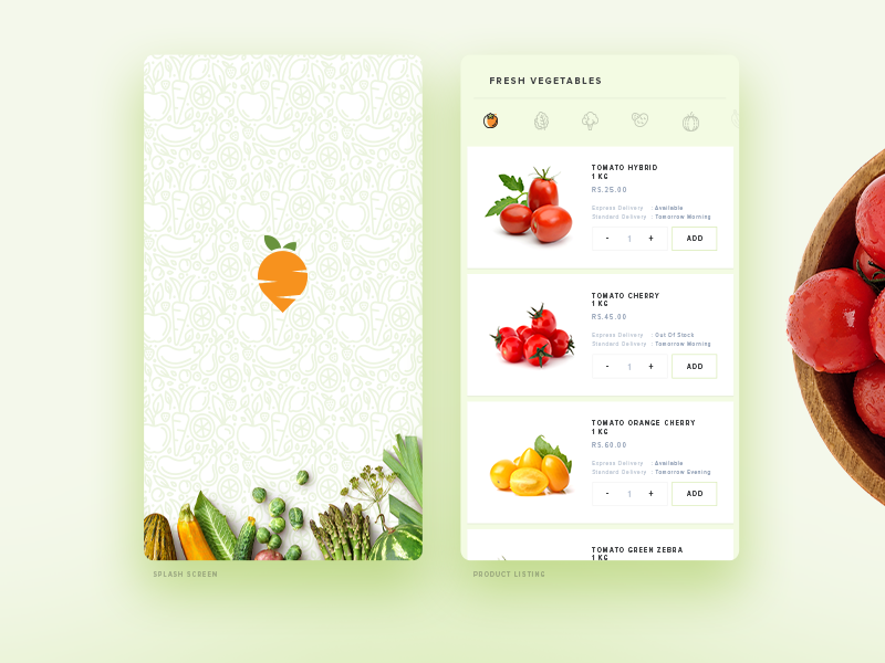 Green Basket App ux ui shopping dribbble page product cart interface new vegetable e-commerce app