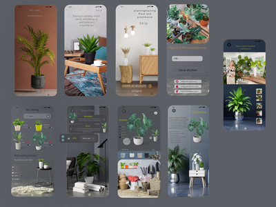 Learning to plant plants and buy pots and seedlings... illustration ux app ui