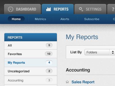 Management Control Panel control panel ui dashboard reports settings menu vertical-navigation blue dark grey