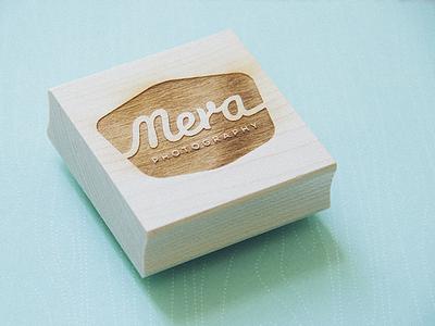 Mera Photography (Stamp) headshots photos photography mera portraits logo stamp wood branding cursive logotype typography