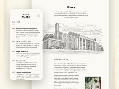 Oak Hall Estate — History editorial timeline responsive website mobile engraving history mansion estate oak hall