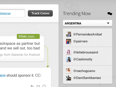 Trending Now bettween twitter trends @ mentions search track conversation conversations argentina loic convo