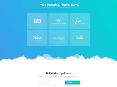 Waveform — OpenPlay / Homepage slideshow blue teal gradient waveform form clients customers grid logos homepage
