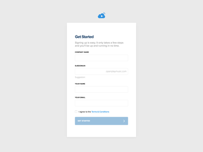 Sign Up Form — OpenPlay / Get Started narrow grey blue field form started get account create up sign