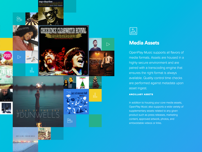 Media Assets — OpenPlay / Features album layout grid gradient icon video management features artist music assets media