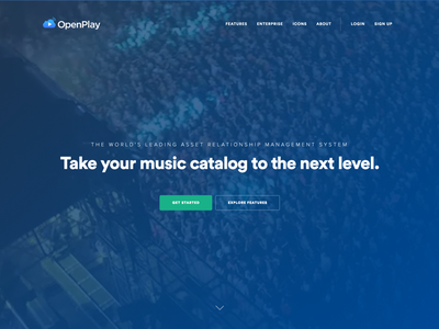 Background Video — OpenPlay / Homepage gradient blue flat navigation concert catalog music video background