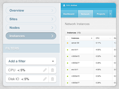 Network Instances developer dev filters sites nodes cpu disk control panel dashboard table texture edit user status ui citrusbyte
