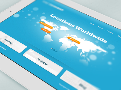 Locations Worldwide map planet world flare blue texture ipad labels rounded grid blur focus citrusbyte