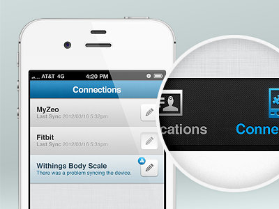 Connections devices fitbit myzeo withings body scale weight steps sleep edit pencil applications iphone app health mhealth texture warning badge zoom citrusbyte