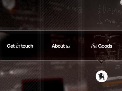 Grid Concept menu nav lion helvetica photo blur brown red noise lines divisions stripes italic serif
