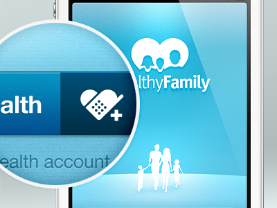 The HealthyFamily mhealth family app iphone texture blue ui white button connect lights shadows mobile citrusbyte
