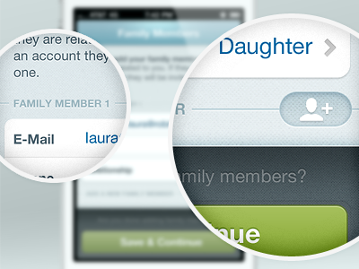 Family Members health mhealth family members texture button ui iphone app add remove delete mobile citrusbyte