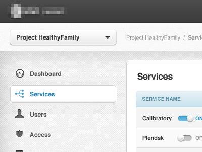 API Hub api hub telco control panel dashboard gray ui texture knob icon users permissions services toggle dropdown menu nav citrusbyte