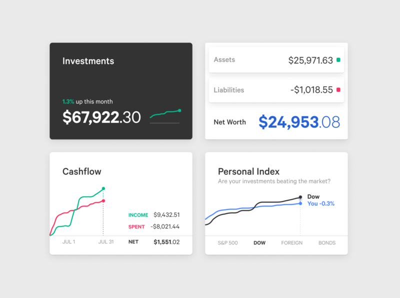 Personal Finance (Components Prototypes) canutin figma budget you need a budget ux ui trends ruby on rails ruby personal capital net worth mint markets liabilities investments dashboard components charts cashflow assets