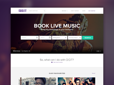 Book Live Music booking live music gig bands dj artists repertoire search photography purple citrusbyte flat white arrows flat design
