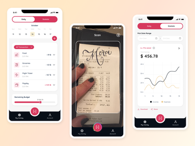 Financial Manager - Mobile App financial manager money manager expense scanning scanner scan income mobile design uiuxdesign uidesign ui money app mobile app mobile app design mobile ui money management