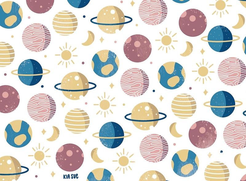 planets pattern procreate illustration ipad art kiasue monatsmottomalerei space patterndesign ipad pro procreate illustration pattern