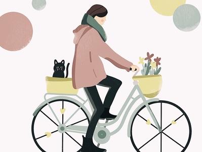 they see me rollin flatdesign flowers cat bycicle kiasue procreate illustration ipadillustration procreate illustration art illustration