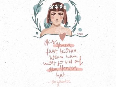 quote <3 ipadpro illustration digital breathe angeladoe drawing draw illustration kiasue woman illustration woman lettering quote
