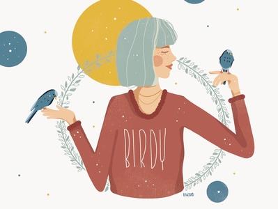 birdy drawingart floral woman illustration kiasue illustration digital draw drawing procreate illustration woman birds