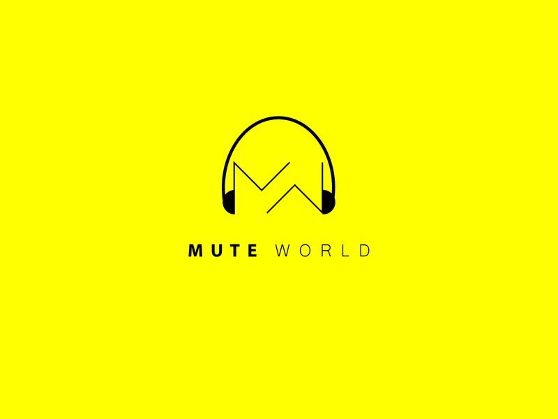 MUTE WORLD minimalist logo mute world sound music creative letter idenity branding logo minimal