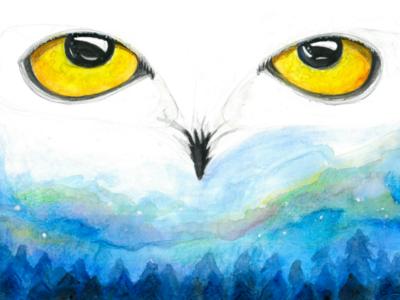 Cold Eyes art graphic eyes blue wallart print scenery landscape bird winter illustration painting watercolor