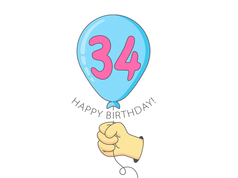 Affordable gift happy birthday hand illustration vector balloon