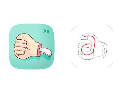 Letter A of cyrillic fingerspelling fingerspelling illustration hand