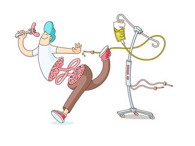 Live the life no matter what nutrition parenteral diet sbs-if bowel patient happy illustration medical intestine colon surgery