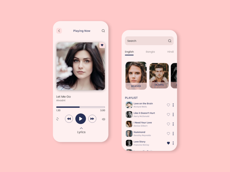 Music App ios android playlist ui concept player music player uiux music music app mobile ui uidesign