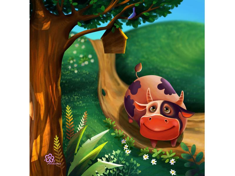 little cow 1 minimal art illustration design character animation