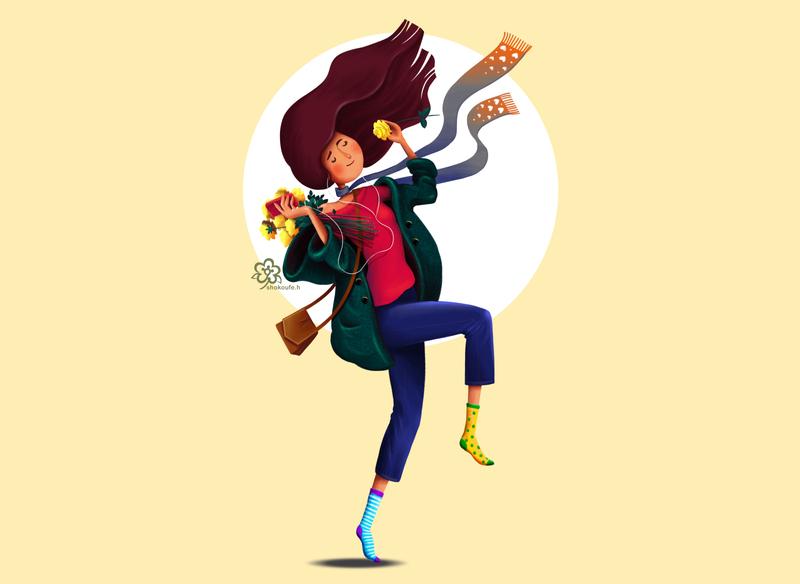 happy song vector minimal art illustration design character animation