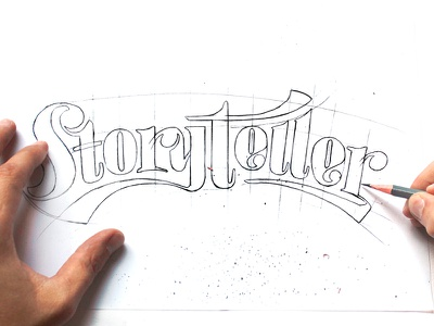 Storyteller Typography hand lettering type pencil sketch typography lettering