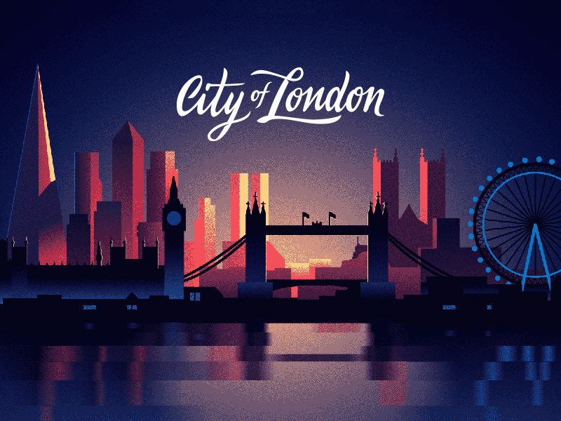 City Of London dawn dusk sunset night big ben tower bridge dithering limited colors cityscape london illustration